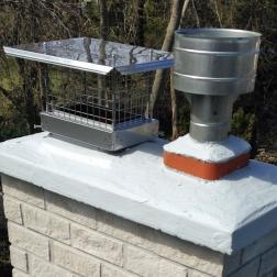 An FP protecting one flue aside a raincap for gas.